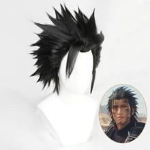 Ff7 final fantasy vii zack fai cosplay perucas 20cm curto reta franja cabelo cosplay