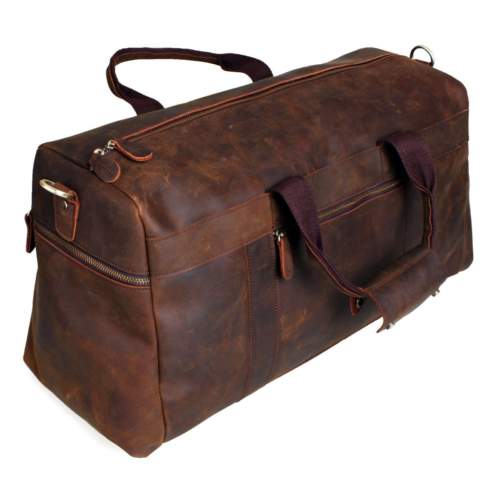 Berchirly Vintage Crazy Horse Genuine Leather bag men duffle bag luggage travel bag Natural Cowhide Large Weekend Bag Hangbag-in Travel Bags from Luggage & Bags    3