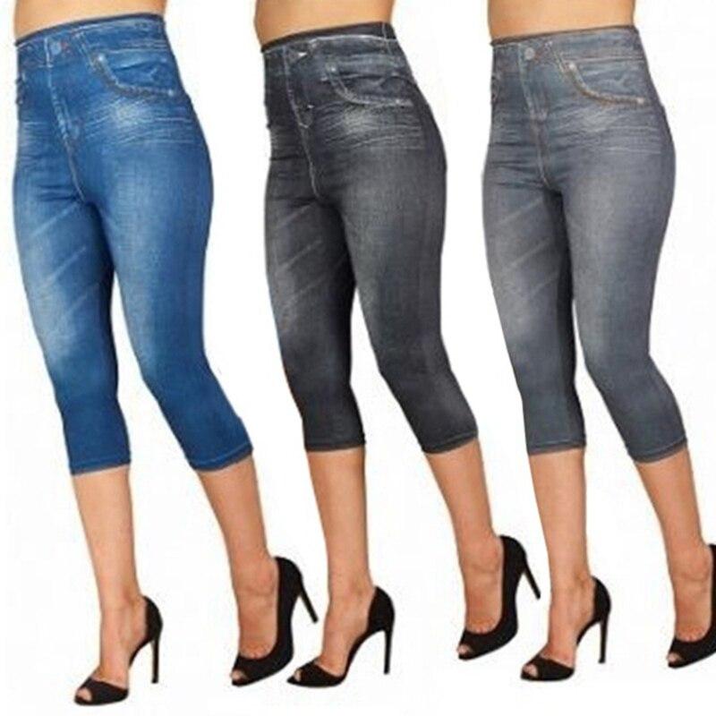 Faux Jeans Leggings Woman Stretch Short Leggins 4\3 Capri Pants Summer Breeches High Waist Perfect Fit Jeans Jeggings