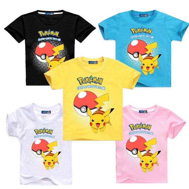 Pokemon Go Pikachu Boys Cotton Children Kids Summer Short T-shirt Tee Top Shirt