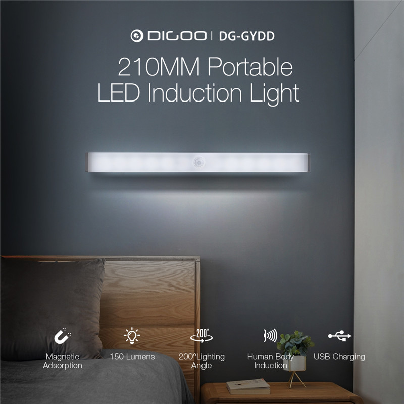 DG-GYDD 210mm Portable Mini LED Human Body Smart Induction Light Magnetic Adsorption USB Charging 150lm Detector Night Light