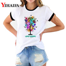 Women 3D Print T Shirts Rainbow Tree Butterfly Graphic Tees Summer Harajuku Short Sleeve Plus Size White Casual Unisex Tops