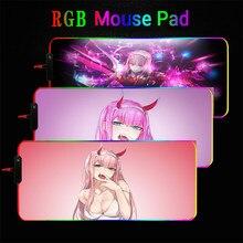 Zero dwa Darling In The Franxx RGB duża podkładka pod mysz do gier XXL świecące Led rozszerzona podkładka pod mysz XL gumowe klawiatury komputera podkład na biurko