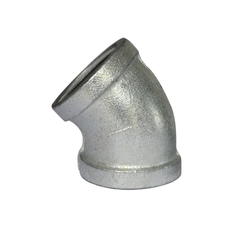 Malleable Cast Iron Pipe Fitting Galvanized Parts Firefighting Engineering Plumbing Pipe Fittings 90° Elbow 45 Degree Elbow