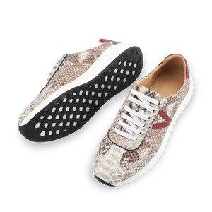 Image 3 - Authentic real pele python macio entulho sola unisex casual tênis exótico genuíno couro de cobra sapatos masculinos de renda