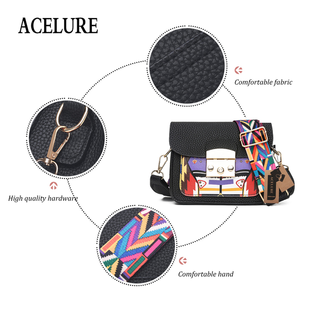 ACELURE Panelled Hard Pu Leather Women Shoulder Bag Colorful Wide Strap Crossbody Bags Fashion All-Match elegant Ladies Flap