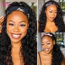 Tinashe 머리띠 가발 물결 인간의 머리 가발 150 밀도 브라질 레미 세련된 스카프 머리띠 가발 흑인 여성을위한 물결 가발