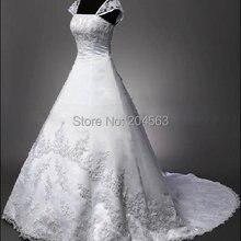 Лучшие продажи расшитые бисером Свадебные платья Кружева линии свадебное платье с бретельками любого размера/цвета