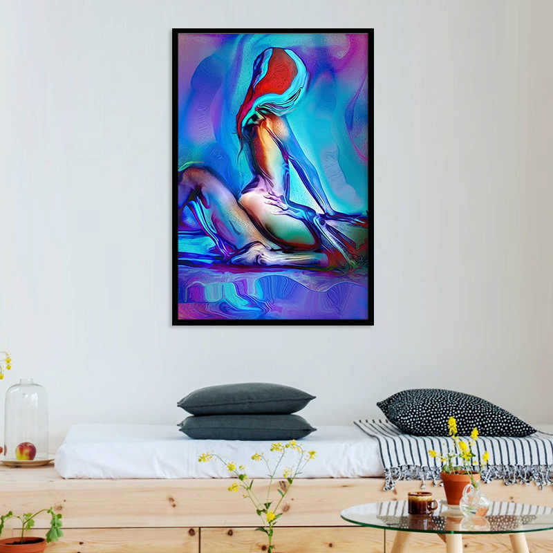 Sexy hommes et femmes chambre tête de lit décoration toile peinture américain suspendu peinture abstraite coloré femme Art mural
