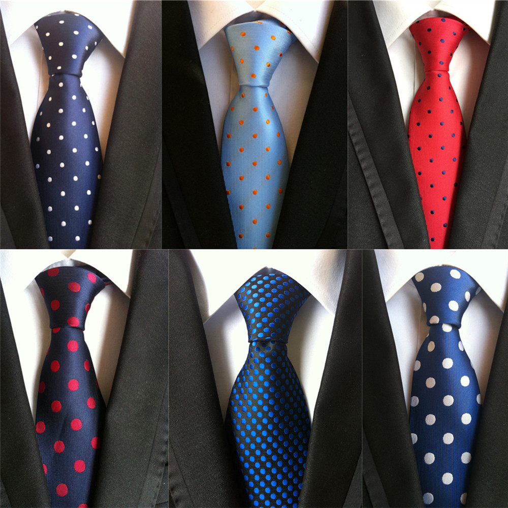 2020 New Classic Dot Print Design 8cm Silk Ties For Men Business Necktie Blue Red Black Groom Wedding Neck Tie Formal Suit A009