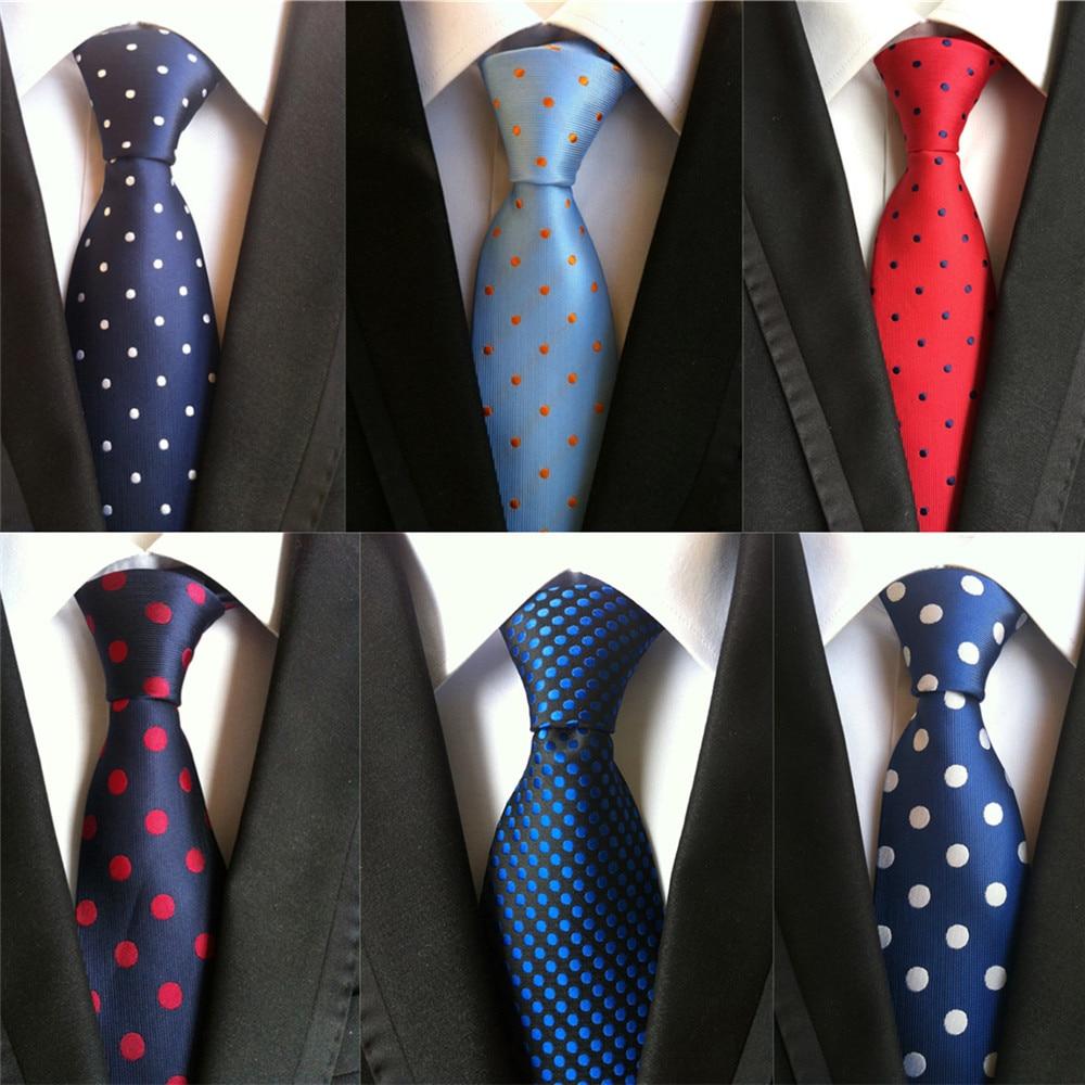 2020 New Classic Dot Print Design 8cm Silk Ties For Men Business Necktie Blue Red Black Groom Wedding Neck Tie Formal Suit A009