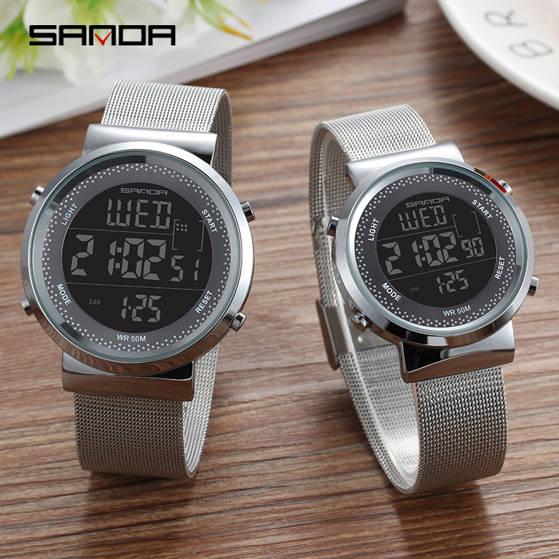 Rose Gold Couple Watch Steel Mesh Belt Lovers Watches 50m Waterproof Outdoor Men Women Sport Watch Fashion Lover Digital Watch in Lover 39 s Watches from Watches