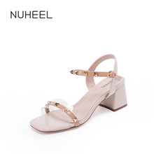 NUHEEL Women's Shoes New Thick Heel Wild Word Band Square Heel Red Open Toe Sandals Women