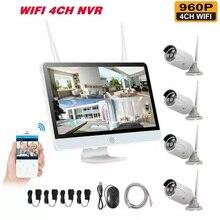 Беспроводной NVR 960P HD наружная система камер домашней безопасности 4CH CCTV видеонаблюдения NVR комплект HDD Wifi камера