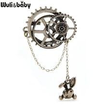 Wuli & baby – broche en alliage de fer-blanc pour hommes et femmes, broche en émail, tête de lapin, Badge, chaîne, cadeau