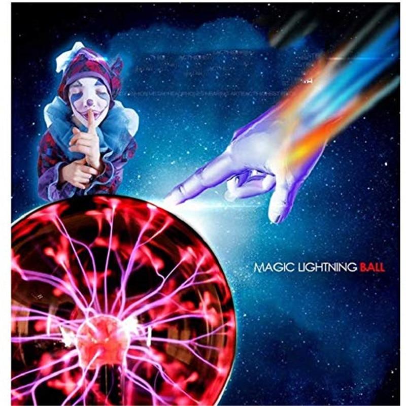 8 Inch Plasma Magic Ball Lamp Touch Electrostatic Sphere Plasma Bulb Light Novelty Moon Table Lamp Christmas Lighting Decor Home