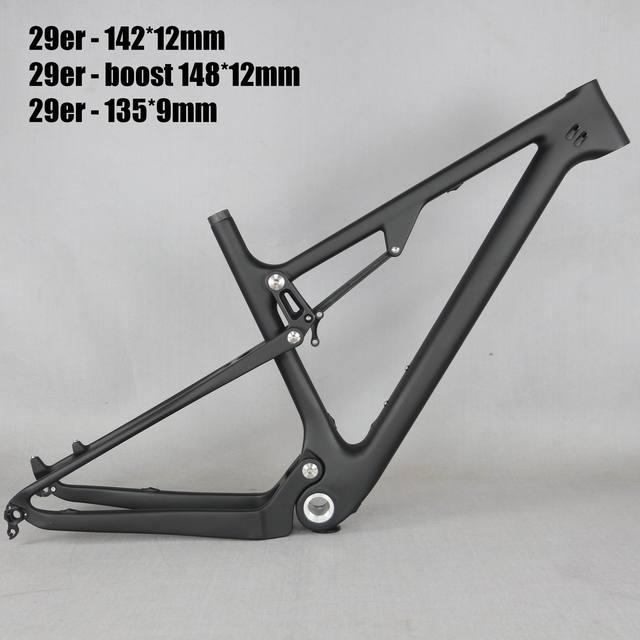 29 Full Suspension 142*12mm MTB Bicycle Carbon frame 29er with 135*9mm /29er boost suspension  148*12 mountain bike frame FM078