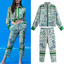Za suit women suit 2-piece suit pants suit 2021 new fashion printing straight leg women suits casual chic street youth suits