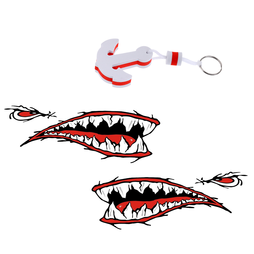 2 Pieces Shark Mouth Teeth PVC Car Yacht Boat Decal Sticker Decor + White Anchor Floating Key Chain Key Ring