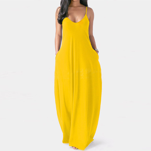 Fashion women's summer dress sexy large size solid color sleeveless O-neck pocket camisole long dress женское платье 50* 5