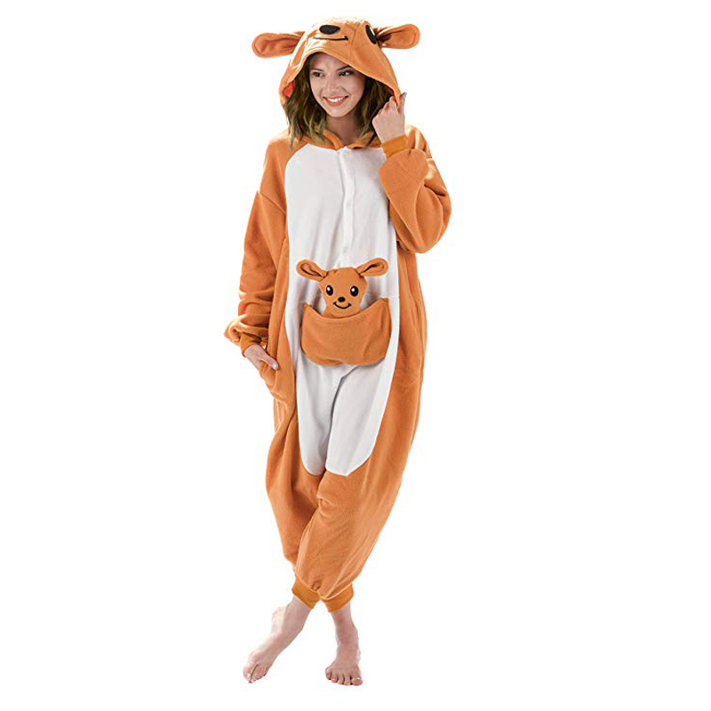 Kangaroo Unisex Adult One-Piece Pajamas Cosplay Cartoon Adult Onesies Animal Sleepwear For Pyjamas Christmas Halloween Costume