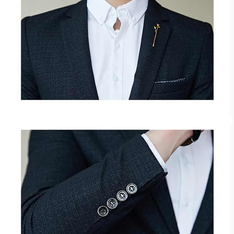 2019 Gaya Baru Pria Musim Gugur Kualitas Tinggi Murni Kapas Slim Fit Bisnis Blazer/Pria Bisnis Gaun Jaket Ukuran s-5XL