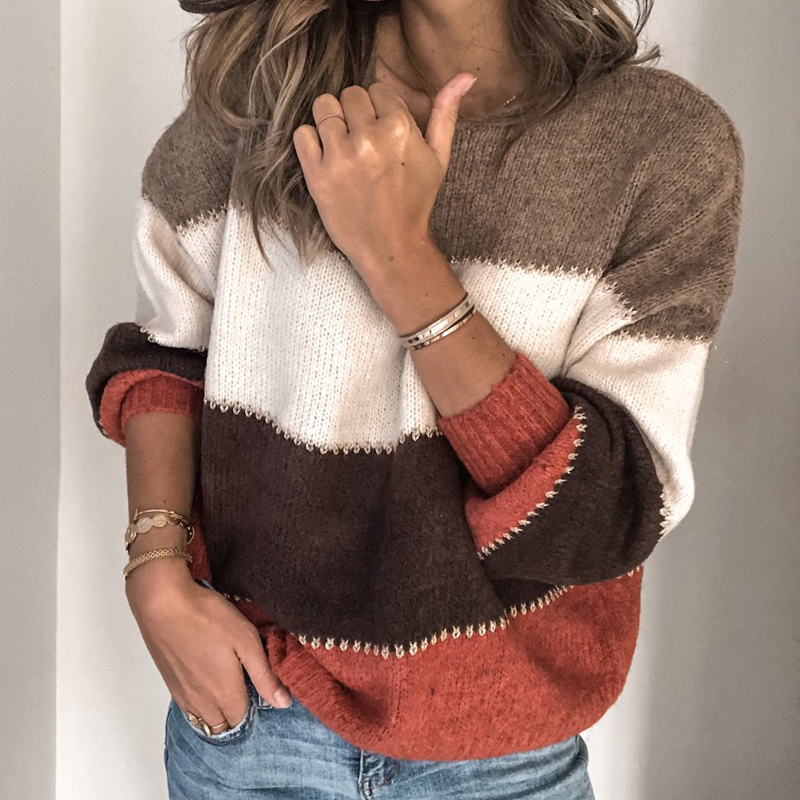 VIEUNSTA Fashion Patchwork O-neck Autumn Winter Sweater 19 Women Long Sleeve Warm Knitted Sweaters Pullover Female Tops Jumper 4