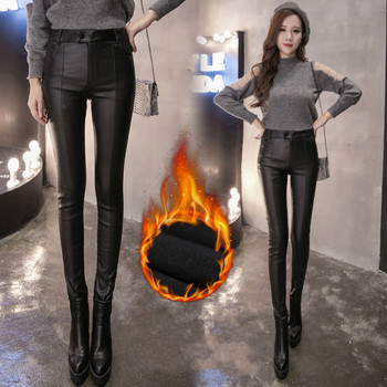 Women Thin Velvet PU Leather Pants 2019 New Female Elastic Stretch Faux Leather Skinny Pencil Pant Tight Trouser Autumn Winter 3