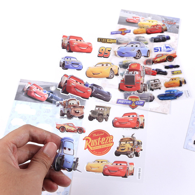 1 Pcs Disney Genuine toy stickers Pixar Cars McQueen children cartoon stereo 3d stickers toy Christmas Birthday Gift