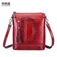 NAiSIBAO 2019 New top Cowhide women genuine Leather bag Embossed fashion luxury handbags designer leather shoulder