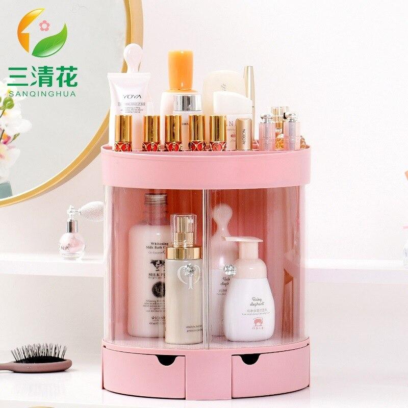 Sanqing Flower Drawer Cosmetics Storage Shelf Jewelry Rack Lipstick Skincare Organizing Rack Desktop Makeup Storage Box