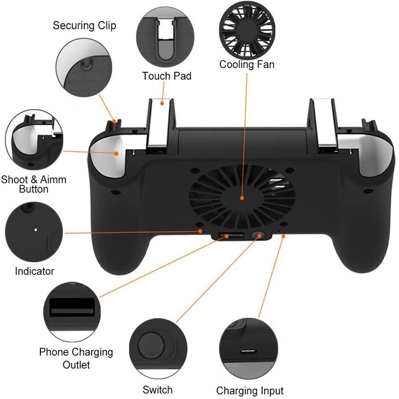 YOBWIN Mobile Controller With Protable Charing Cooling Fan For PUBG Gamepad Tigger Controller For 4-6.5 inch IOS Android Phone
