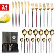 Набор золотых столовых приборов комплект из 24 нержавеющей стали