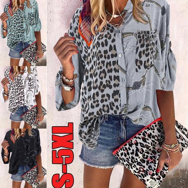 Plus size loose women blouse 2020 summer blouse shirts casual V-neck long sleeve leopard print women shirts 1