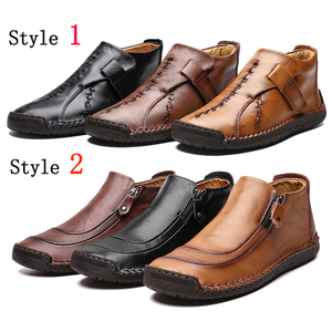 Image 3 - Fhlyiy חדש לגמרי עור קרסול נעלי גברים נעליים יומיומיות חיצוני קטיפה חם פיצול עור נעלי סתיו החלקה zapatos דה Hombre