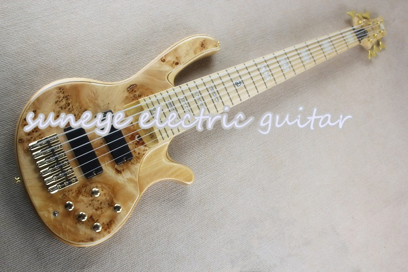 Natural Wood deOlivera 6 String Electric Bass Guitar Gold Hardware Bass Guitar 6 String Maple Fretboard Free Shipping