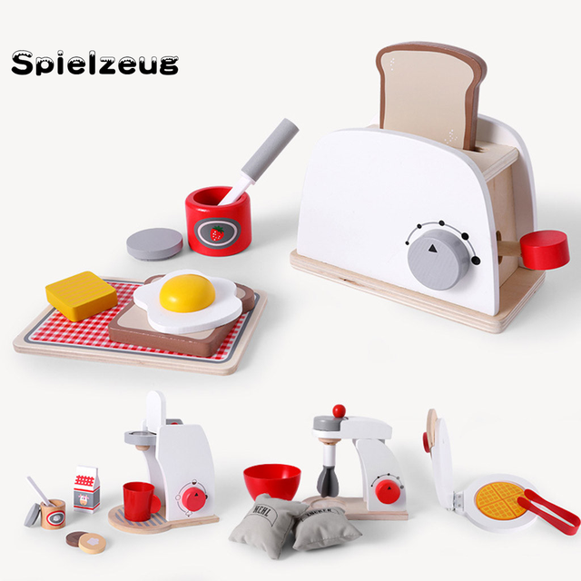 Kids Wooden Pretend Play Sets Simulation Toasters Bread Maker coffee machine Blender Baking Kit Game mixer Kitchen role toy#g4