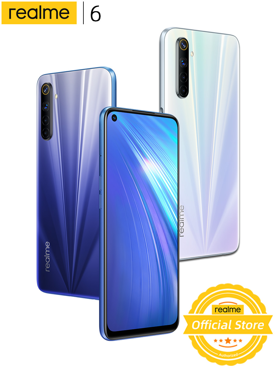 Realme Helio G90T 6 Mobile-Phone Global-Version 128GB 4gbb GSM/LTE/WCDMA NFC Supercharge