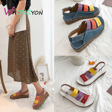 цена на Hot sale sandals 2019 summer new color non-slip wedge sandals women-Leather Vintage Sandals Buckle Casual Sewing Women