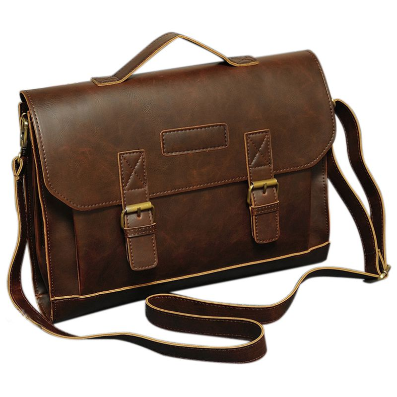 Men/'s Leather Messenger Shoulder Bags Business Work Briefcase Laptop Bag Handbag