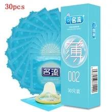슈퍼 울트라 얇은 콘돔 30pcs MingLiu 친밀한 Condone 좋은 섹스 제품 천연 고무 라텍스 페니스 슬리브 남성을위한 오래 지속
