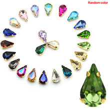 50pcs DIY Crystal Stones Craft Dress Sewing Strass Diamond With Claw Sew On Wedding Rhinestone Glass Decoration Mixed Color(China)