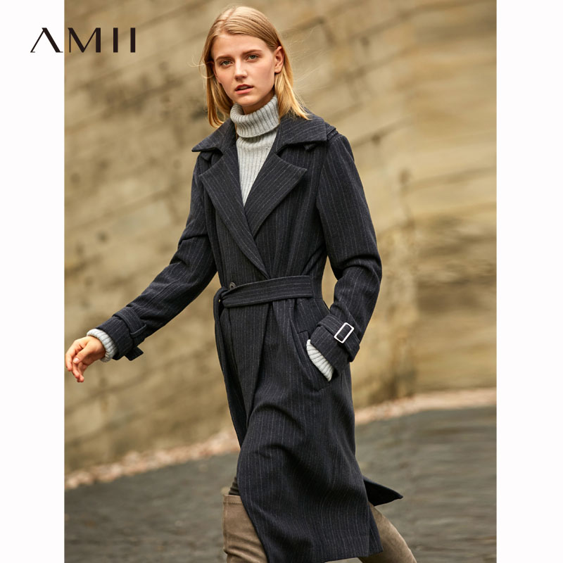 Striped Woolen Coat Casual Adjustable Waist Belt Office Lady Long Jackets