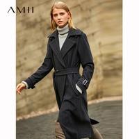 Striped Woolen Coat Casual Adjustable Waist Belt Office Lady Long Jackets