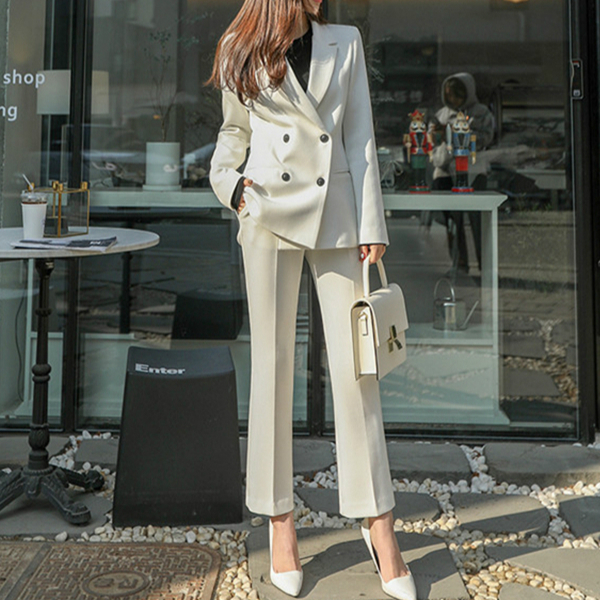 2020 Autumn Winter Blazer Suits Women Pant Suit Double-breasted Jacket & Slim Pant Female 2 Pieces Set Office Ladies Outfits