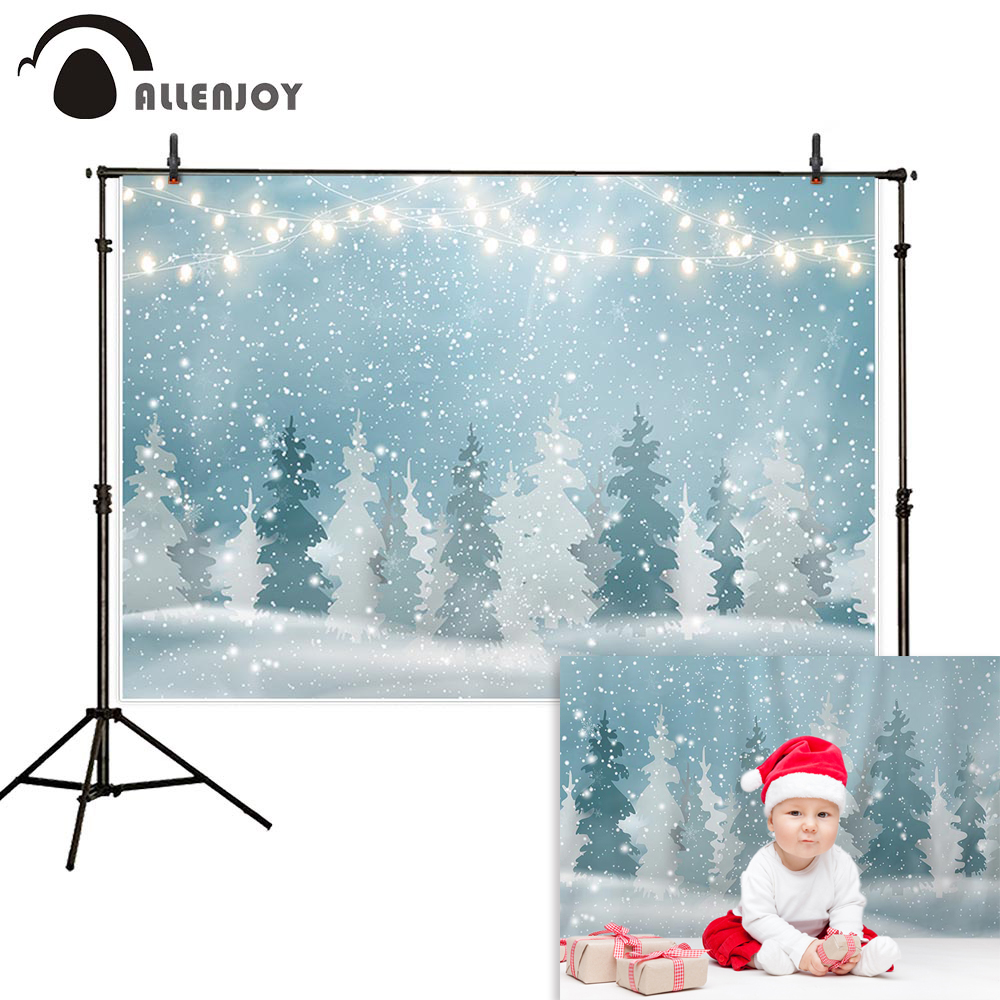 Allenjoy photographic backgrounds winter forest snow light post baby Christmas shiny photophone vinyl backdrop photocall