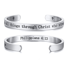 Women Cuff Bangle Inspirational Bracelet Black And Silver Color Deeper Engraved Statement Bible Verse Scripture Jewelry(China)