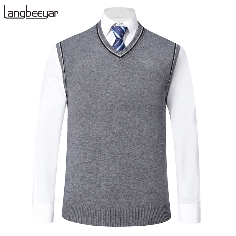 Fashion Brand Sweater For Mens Pullovers V Neck Slim Fit Jumpers Knit Vest Sleeveless Autumn Korean Style Casual Clothing Men