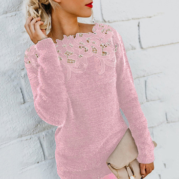 sweater  Autumn and winter ladies lace stitching solid color long-sleeved sweater 4