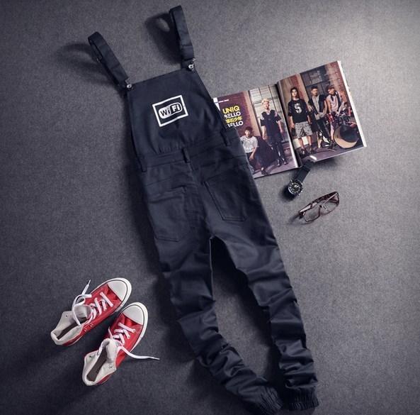 Mens Black Cargo Pants Letter Printed Bib Overalls Casual Straight Long Bib Suspender Trousers Men Fashion Work Jumpsuits XXL 2